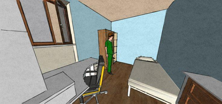 Prospetto interno della stanza (entrando dalla porta)