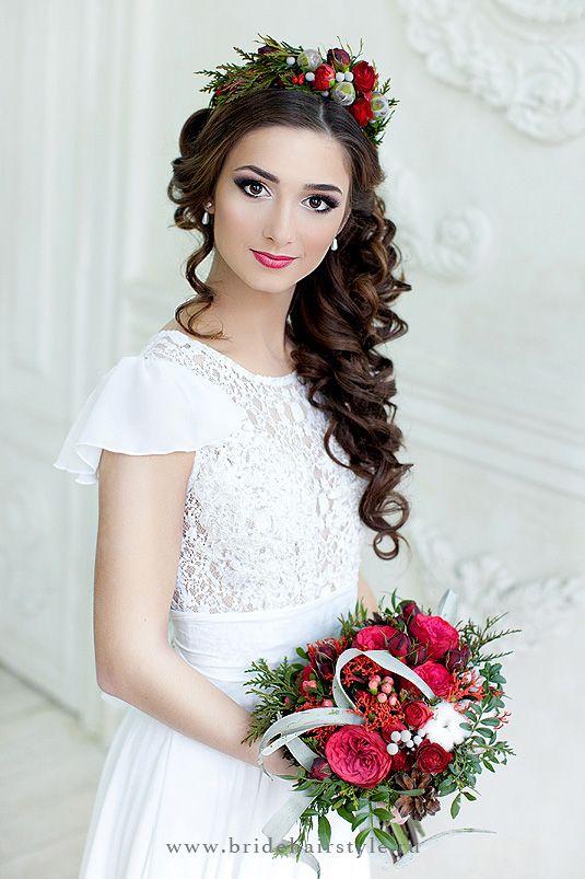 Свадебные прически для волос средней длины 8