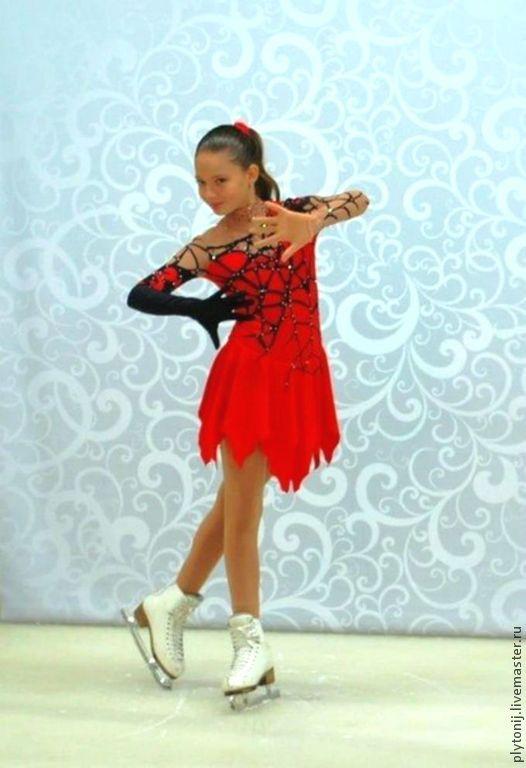 Купить Платье для фигурного катания - ярко-красный, рисунок, фигурное катание, платье для девушки