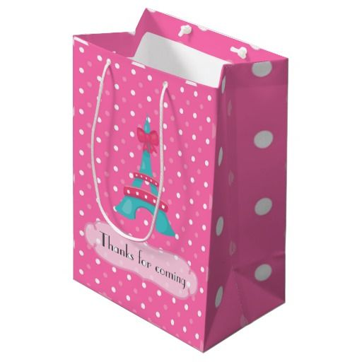 Pink Paris Photo Booth Birthday Party Personalized Medium Gift Bag