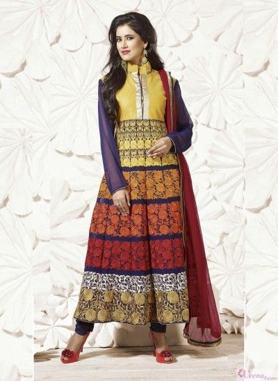 Charming multicolored patch border work georgette anarkali suit with patch border work.pair with mathcing bottom and dupatta.