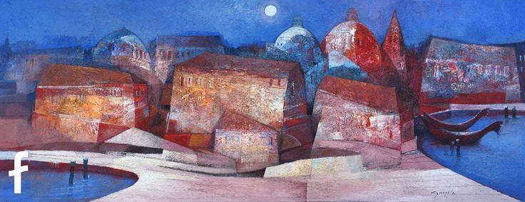 Gianni Gueggia opera d'arte - paesaggio notturno - fluidofiume trieste