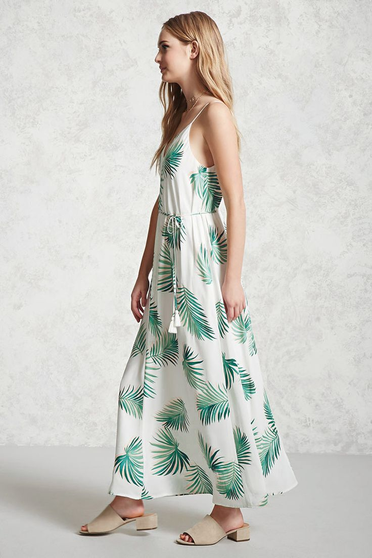 Forever 21 Contemporary - A woven sleeveless maxi dress featuring an allover palm leaf print, self-tie belted waist with tasseled ends, a V-neckline, and a V-cut back with a strap.
