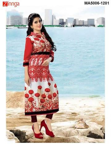 MAYLOZ-Red Color Cotton Ready Made Kurti - MA5006-1201
