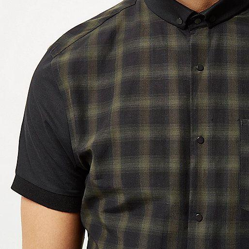 Kaki geruit slim-fit overhemd - Overhemden met korte mouwen - Overhemden - heren