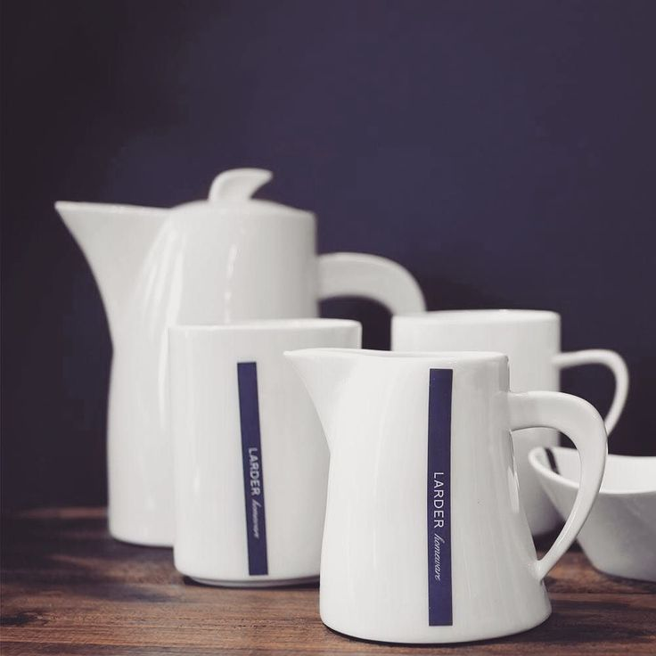 Our lovely Hepburn breakfast range: coffee mug milk jug and tea pot. Made from lightweight high quality porcelain which is dishwasher and microwave safe. #crockery #larder #homewares #breakfast #white #simple #organic #familyowned #penola #southaustralia