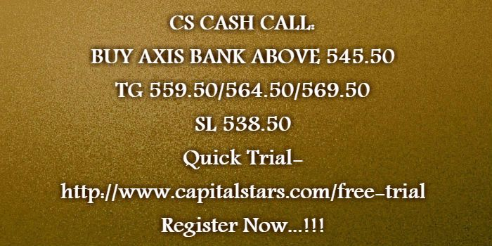 CS CASH CALL: BUY AXIS BANK ABOVE 545.50  TG 559.50/564.50/569.50  SL 538.50 Quick Trial-http://www.capitalstars.com/free-trial Register Now...!!!