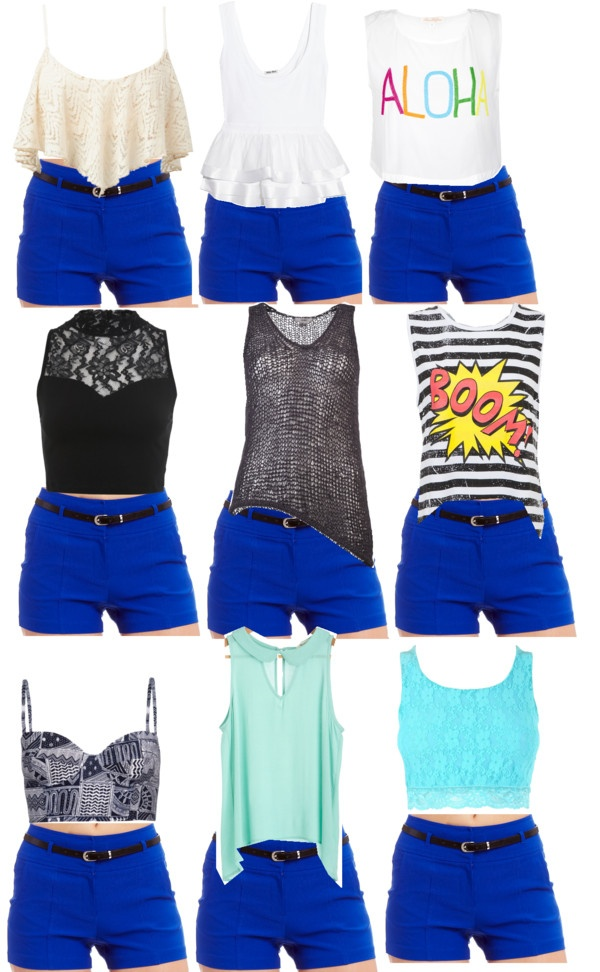 """""""Royal Blue Shorts"""" by mae3355 ❤ liked on Polyvore"""