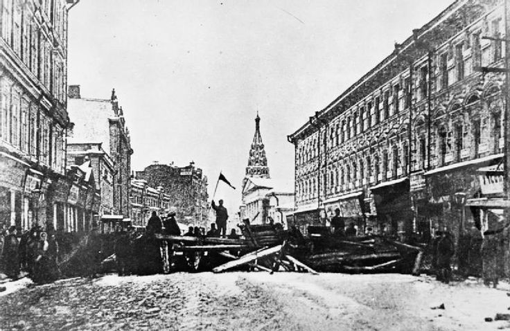 A barricade erected by revolutionaries in St. Petersburg during the 1905 Russian Revolution