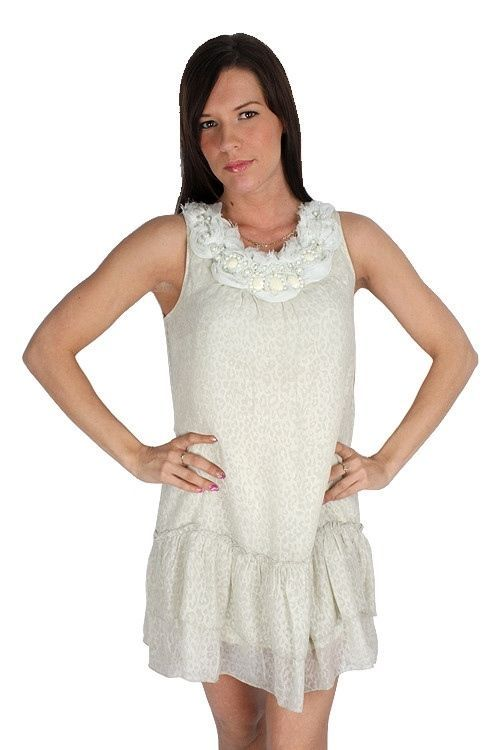 Yumi Cream Sleeveless Sheer Leopard Print Beaded Drop Waist Lined Dress $129 CAD