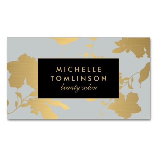 Elegant Gold Floral Pattern Pale Gray Designer Business Card