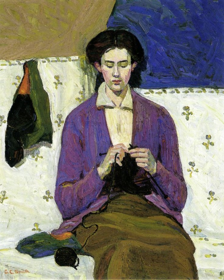 The Sock Knitter by Grace Cossington-Smith. Grace Cossington Smith AO OBE (20 April 1892 – 10 December 1984) was an Australian artist and pioneer of modernist painting in Australia and was instrumental in introducing Post-Impressionism to her home country. Examples of her work are held by every major gallery in Australia.