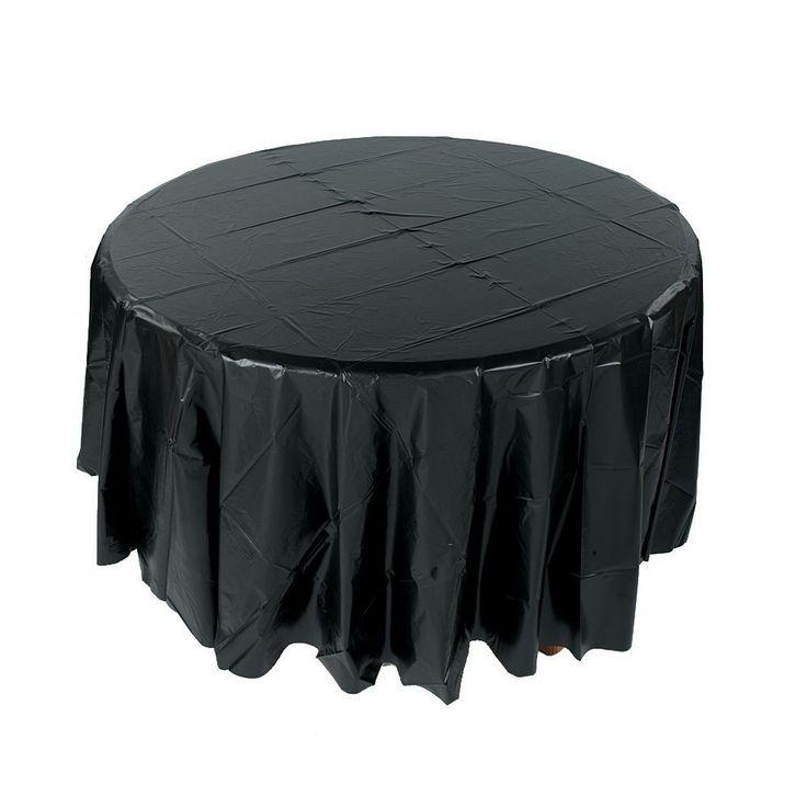Black Round Plastic Tablecloth