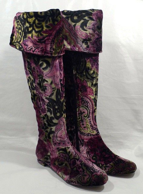 "BORN Crown ""Salia"" FANTASY mulicolor PAISLEY VELVET knee/over knee boots"