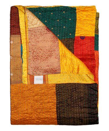 Another great find on #zulily! Golden Yellow & Burnt Orange Patchwork Silk Kantha Throw #zulilyfinds