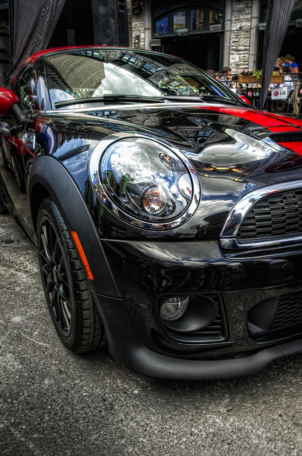 Mini Cooper Type S, displayed on Crescent Street during the Grand Prix Weekend, 2013. Montreal, Quebec, Canada *