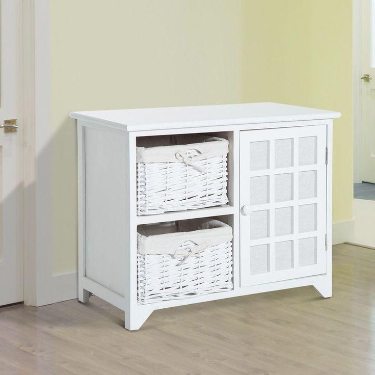 Wooden Storage Bench White 1 Door 2 Wicker Basket Entrance Living Room Furniture