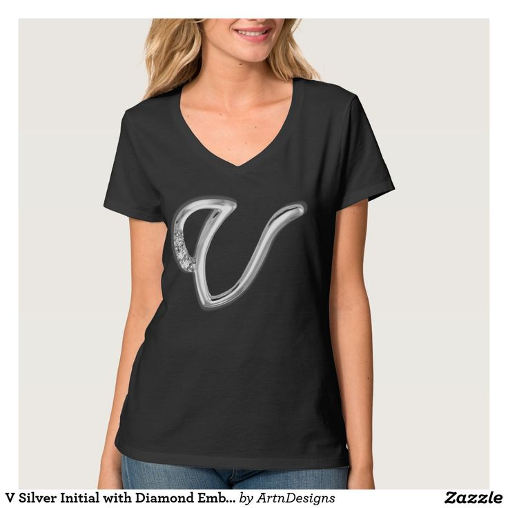 V Silver Initial with Diamond Embellishment T-shirt
