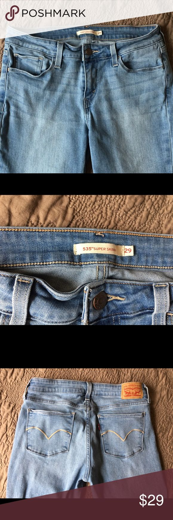 Women's Levi jeans size 29 EUC EUC Levi jeans. Size 29. Gorgeous jeans! Open to offers and negotiations!Thanks for looking and check out my other listings! Bundle and save!! Levi's Jeans Skinny