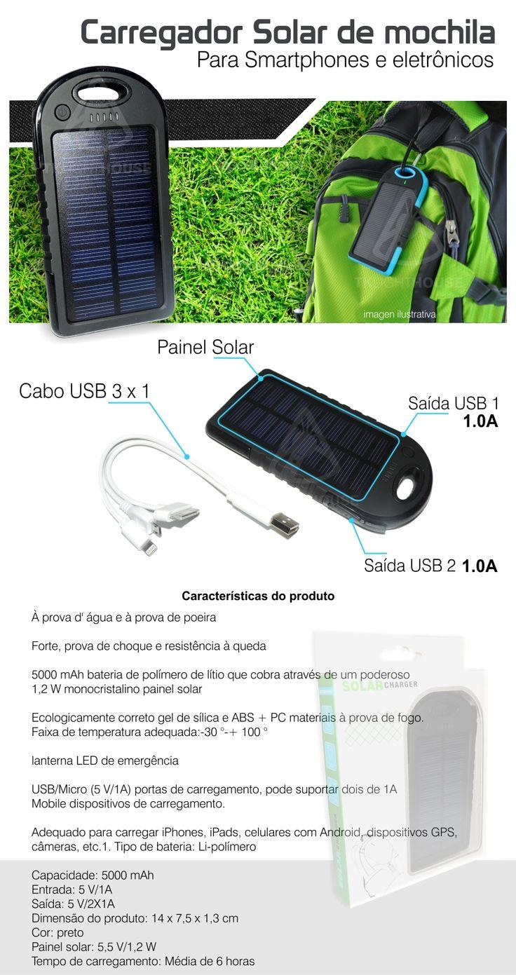 Backup Bateria Solar Prova D Agua Carregador Portatil - R$ 55,00