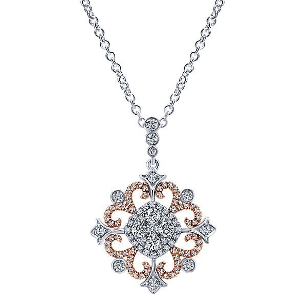18k White/pink Gold Diamond Fashion Necklace | Gabriel & Co NY | NK5030T84JJ