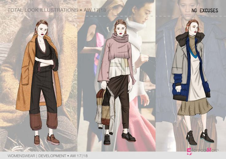 """Key look ILLUSTRATIONS for Fall winter 2017-18 """"No excuses"""" theme. Trend forecasting by 5forecaStore"""
