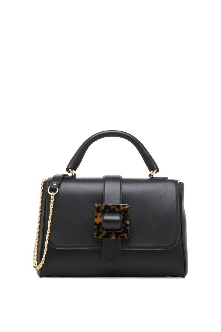 Leather bag with tortoiseshell buckle