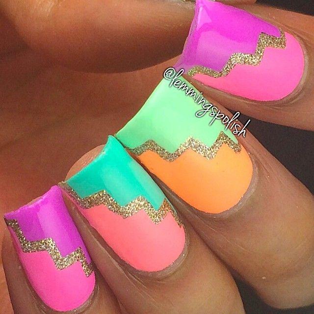 Pastel geometric Instagram media by lemmingspolish #nail #nails #nailart
