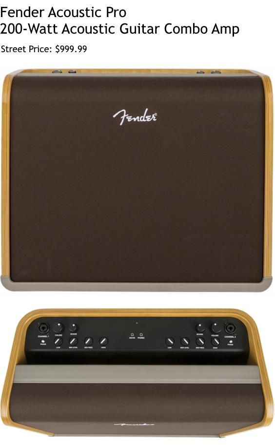 "Fender Acoustic Pro. This is a 200-Watt combo amp for acoustic guitar which Fender describes as an ""audiophile amp"" . For a detailed guide to acoustic guitar amps see https://www.gearank.com/guides/acoustic-guitar-amp"