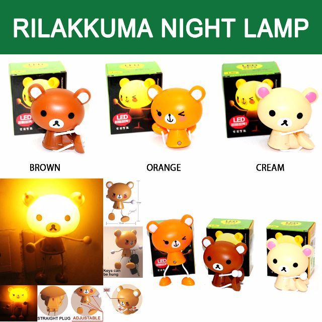 Dengan Character Night Lamp, anak anda tidak perlu takut akan gelap lagi. Rilakuma Night lamp akan menemani anak anda tidur dan menghiasi kamar anak anda.Ukuran: 10 x 10 cmUntuk Order  BBM : 7C834615Whatsapp: 087830969000Fast Respon
