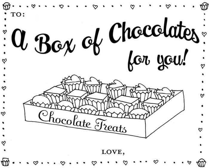February Chocolates Coloring Pages Candy Coloring Pages Valentines Day Coloring Page Free Coloring Pages