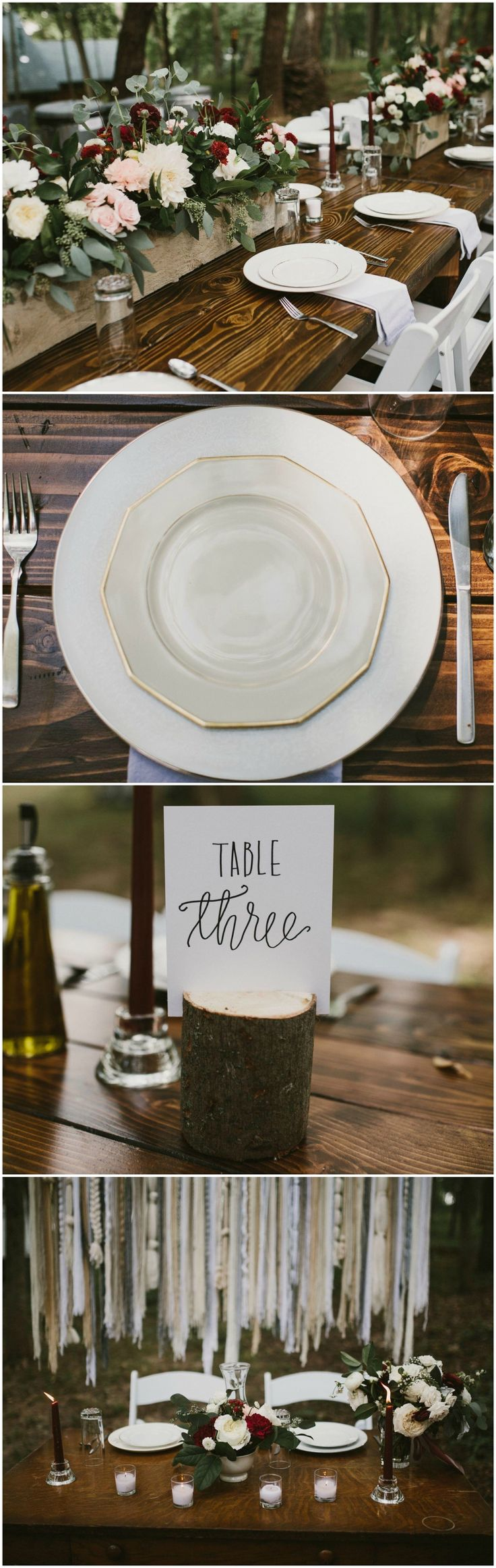 Boho & rustic, outdoor wedding, woods, bare farm table, sweetheart table, ribbon wall, gold-rimmed plate, tree trunk table number, burgundy candlesticks // Aaron & Whitney Photography