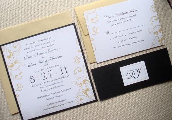 Vintage Metallic Wedding Invitation Set  Black and by alamodebride, $4.75