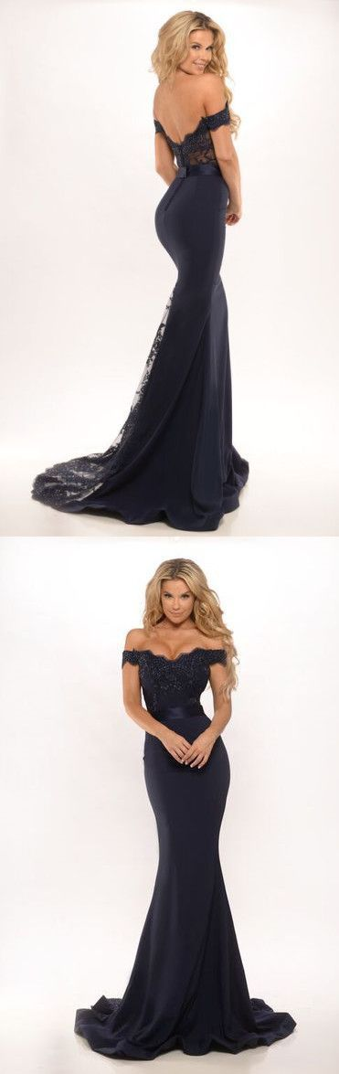Mermaid Off Shoulder Dark Navy Blue Prom Dress