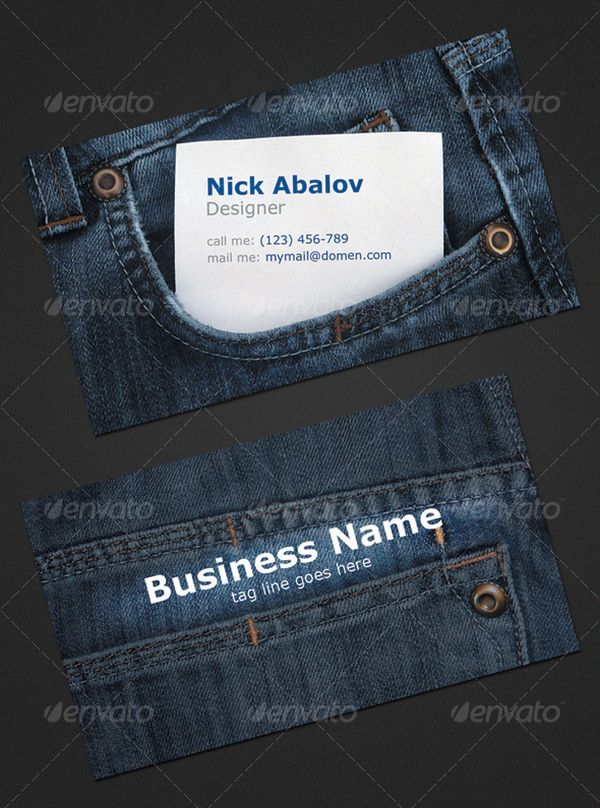 Jeans graphic designer  Business Card 25 Creative Business Cards For Professionals