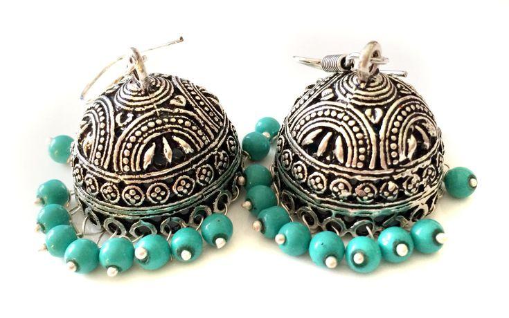 Turquoise Earrings,Indian Silver Jhumkas,Royal Jewelry,Large Jhumka Kucchi kuchi Earrings Ethnic gypsy tribal Indian Jewelry by TANEESI by taneesijewelry on Etsy
