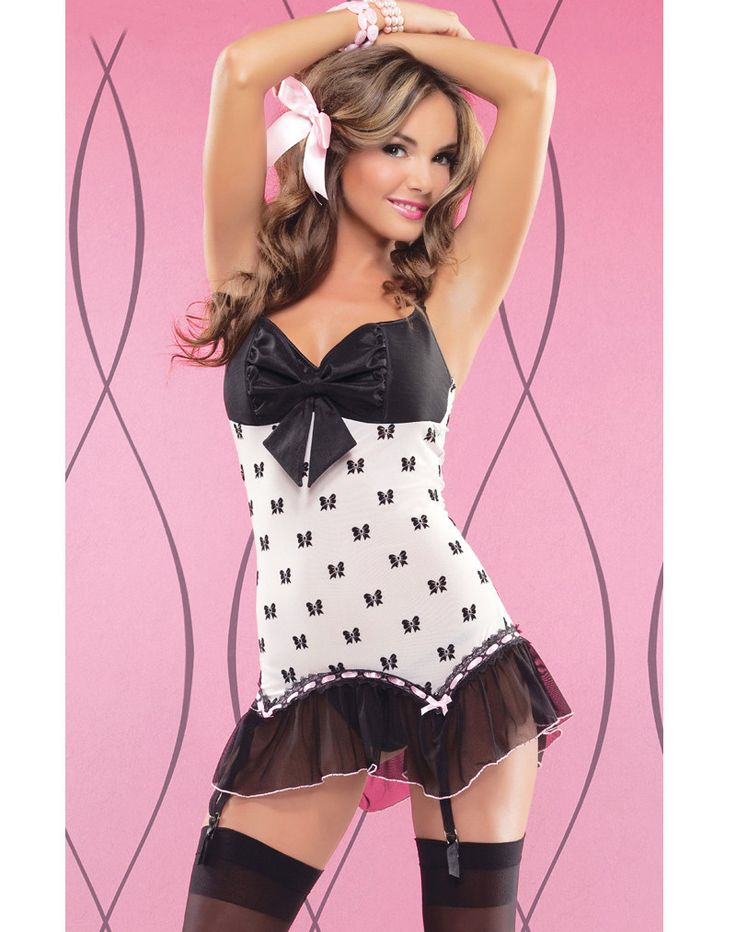 Wholesale Women's Sexy Lingerie Bow Mesh Chemise with Padded Cups Black/White Women Babydoll Nightwear I2753 Sexy Gifts Valentine's Day Wife Honeymoon