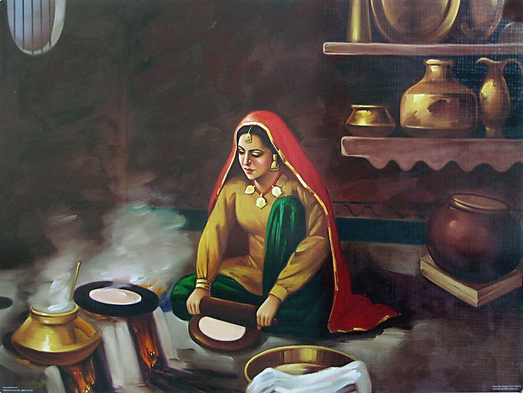 Old punjabi kitchen punjabi lady making roti desi life for Art of indian cuisine