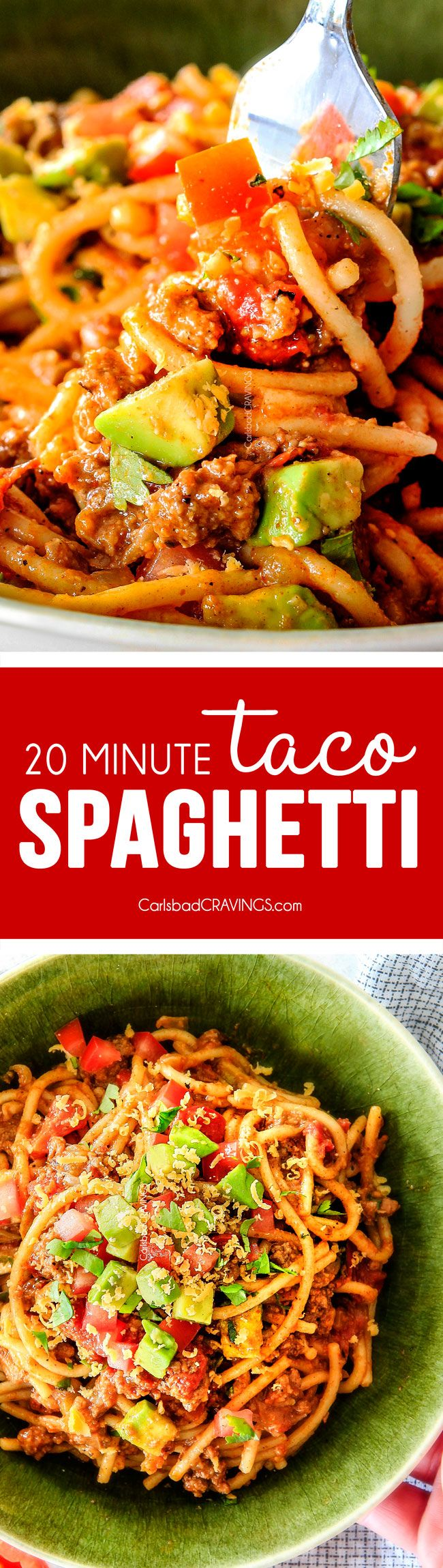 20 Minute Taco Spaghetti is all you favorite taco flavors in hearty, comforting spaghetti form! Simple prep, minimal cleanup, tons of flavor!  Your family will LOVE this!!! via @carlsbadcraving