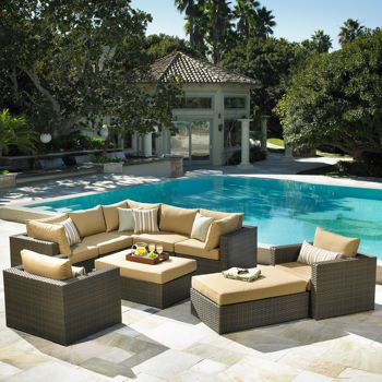 Madrid 9 Piece Deep Seating Set By Mission Hills L From Outdoo
