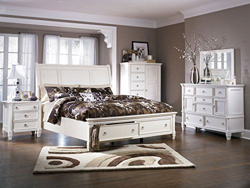 white queen sleigh bedroom set 6 pieces complete cottage sleigh storage bedroom set
