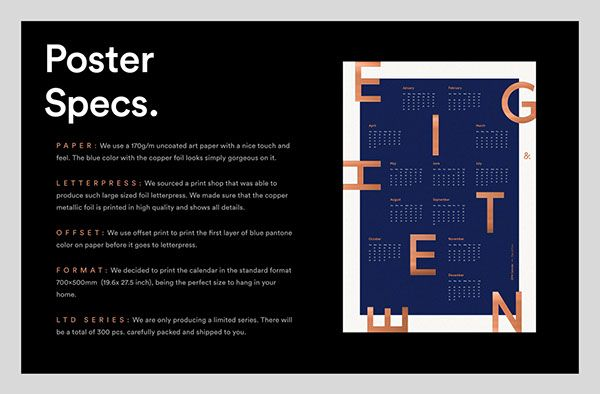 Now on Kickstarter: Beautiful 2018 design letterpress calendar poster minimal style with typography focus and type design. Available on Kickstarter: goo.gl/Rem6R4 Designed by Type&Face Filip Triner