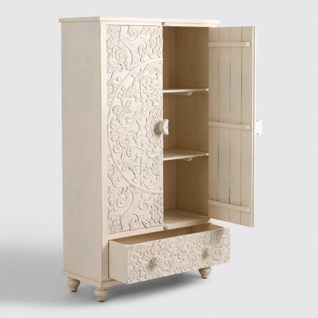 White Carved Wood Floral Armoire World Market Mango