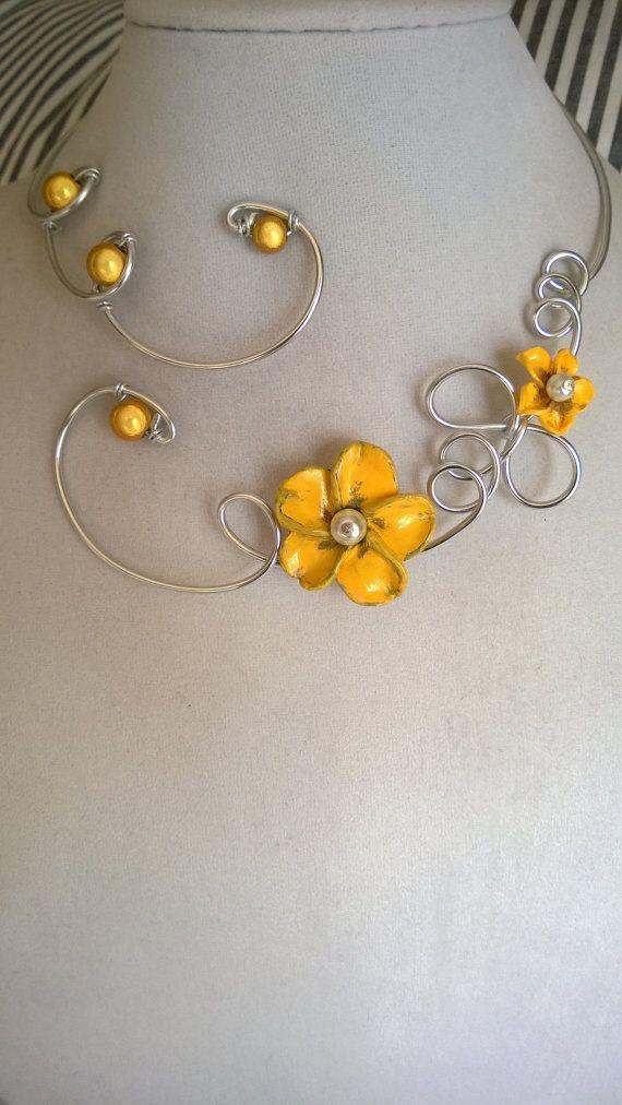 Yellow jewelry  Wedding jewelry  Alu wire by LesBijouxLibellule