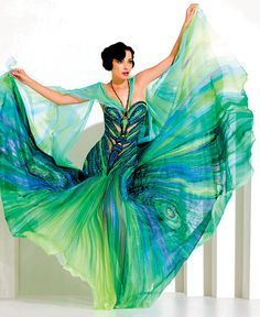 One Of A Kind Blue And Green Peacock Or Butterfly Themed Dyed Silk Dress By Czech Designer Blanka Matragi I Love The Body Hugging Bodice With Cut Outs