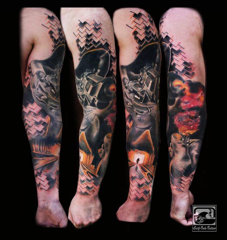 trash polka tattoo,trash tattoo,trash style tattoo,trash tattoo,trash tattoo polka,surf-ink-tattoo,Ted Bartnik,Polka trash tattoo,tattoo trash