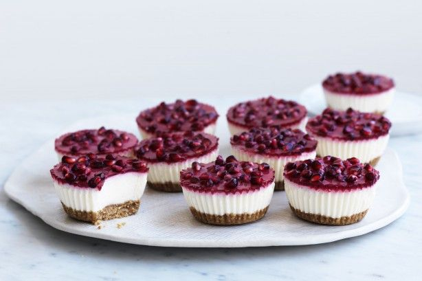 Mini vanilla and pomegranate yoghurt cheesecakes main image