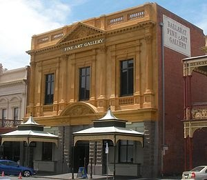 Art Gallery of Ballarat is the oldest and largest regional art gallery in Australia. Established in 1884 as the Ballarat Fine Art Gallery by the citizens of Ballarat both the building and part of its collection is listed on the Victorian Heritage Register and by the National Trust of Victoria.   The gallery is notable as the home, since 1895, of the original Eureka Flag and houses major collections covering the history of Australian art from the early colonial period to the present day