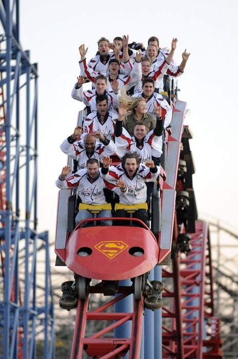 This picture….is hilarious. Washington Capitals. NHL Hockey and Roller Coasters.
