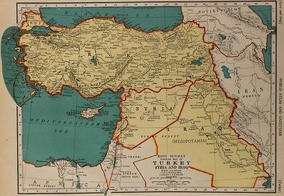 Map of Turkey, Syria and Iraq
